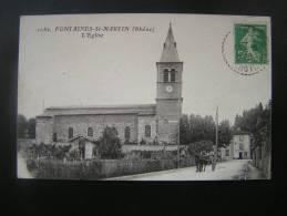 CP Carte Postale Fontaines Saint Martin (Rhône) L'Eglise Animée Avec Calèche (4) - Otros Municipios
