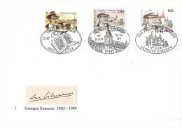 Emmission Commune--FRANCE-SUISSE-BELGIQUE--Lettre + Carte--Geoges SIMENON-1903-1989 - FDC