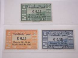 COSTA RICA - P.A. 1947 PITTORICA 3 Valori, SOPRAST. - NUOVI(++)-TEMATICHE - Costa Rica