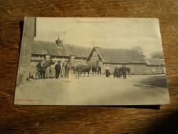 CPA De Mézières (Eure) - La Place - Agriculteurs Et Vaches, Pub Chocolat Meunier Et Dubonnet - Carte Animée - Autres Communes