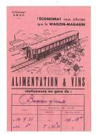 Wagon Magasin Alimentation Et Vins De L'économat SNCF à Busseau Sur Creuse - Reclame
