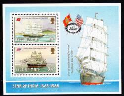 Isle Of Man MNH Scott #370a Souvenir Sheet Of 2 ´Euterpe´, ´Star Of India´ Sailing Ships Built On Isle - Man (Ile De)