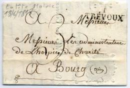 AIN - 1 / TREVOUX, 34 X 11,5, DU 18/6/1813, TAXE 3 MANUSCRITE POUR BOURG, EN TÊTE DE LA MAIRIE  - TB - 1801-1848: Precursors XIX