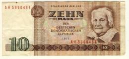 GERMANY  -  DEMOCRATIC DEUTCHLAND  -  RDA  -  10 Mark  -  1971  -  P.28b - [ 6] 1949-1990 : GDR - German Dem. Rep.
