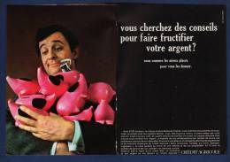 Pub Papier 1968 Banque Crédit Agricole Tirelire Cochon Rose Argent Billet - Reclame