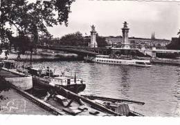 """20814 Paris France, Pont Alexandre 3 Berges Seine -308 Lyna . Peniche """"Toquade """"bateau Mouche - Péniches"""