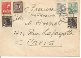N°Y&T  32X2+34+8+36+38  DORMSTAD   Vers FRANCE     Le    02 OCTOBRE1947 - Gemeinschaftsausgaben