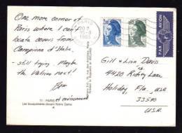 Bon Tarif à 2.85 / Carte Postale Avion Pour Les U.S.A. / PARIS  GARE P.L.M. 15.08.1983 - 1982-90 Liberty Of Gandon