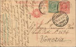 1919 INTERO POSTALE 10C. + 5C. LEONI DA MONTEMARCIANO (ANCONA)  PER VENEZIA - Interi Postali
