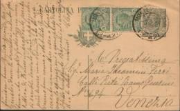 1921 INTERO POSTALE 15C. + 2 VALORI 5C. LEONI DA MONTEMARCIANO (ANCONA)  PER VENEZIA - Interi Postali