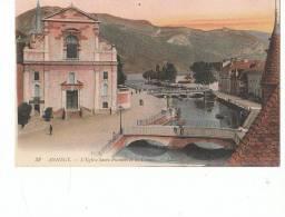 74 ANNECY  Belle CPA Colorisée EGLISE St François Et Vue Sur Les CANAUX Et Les PONTS - Annecy