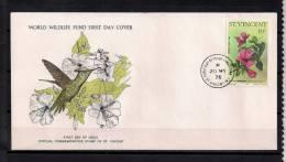 WORLD WILDLIFE FUND (W.W.F.) , TEMA AVES , COLIBRIES, SAN VICENTE 1976 , SOBRE PRIMER DIA, FAUNA EN PELIGRO - Colibríes