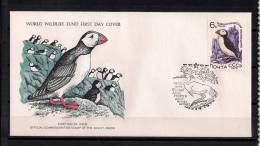WORLD WILDLIFE FUND (W.W.F.) , TEMA AVES , FRAILECILLO,  UNIÓN SOVIÉTICA 1976 , SOBRE PRIMER DIA, FAUNA EN PELIGRO - Palmípedos Marinos