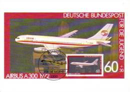 Deutsche Bundespost Maximum Card  -  Airbus A300  -  1972 - Premier Jour - Aerei