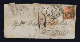 """1856 - """"COLONIES / ART. 18"""" EN ROUGE (ind.19) SUR DEVANT AFFRANCHI 1 A D´INDE ANGLAISE POUR BORDEAUX & TAXE TAMPON 1 - Maritime Post"""