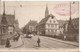 CARTE POSTALE ORIGINALE PHOTO ORIGINALE ANCIENNE : STRASBOURG ; TRAMWAY SUR LE PONT DU CORBEAU ; BAS RHIN  (67) - Strasbourg