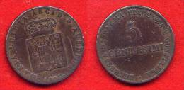 ITALIE - ITALIA  - ITALY - PARMA - PARMA & PIACENZA - MARIE-LOUISE - MARIA LUIGIA - 5 CENTESIMI 1830 - Regional Coins