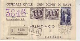 Lotto Lot  Manoscritto Raccomandata Forze Armate 25 X 2 Italia Lavoro 15 San Donà Di Piave Venezia X Eraclea - 1946-60: Storia Postale