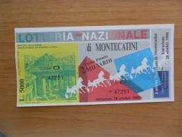 BIGLIETTO LOTTERIA DI MONTECATINI CON TAGLIANDO IN FDS 1990 - - Biglietti Della Lotteria