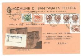 SANT´AGATA FELTRIA  61019  PROV.  PESARO URBINO  - ANNO 1980 - R   -TEMATICA COMUNI D´ITALIA - STORIA POSTALE - Affrancature Meccaniche Rosse (EMA)