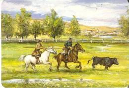 CALENDARIO DEL AÑO 1996 DE UNOS CABALLOS Y UN TORO (BULL-HORSE) (pequeña Doblez) (CALENDRIER-CALENDAR) - Calendarios