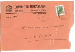TRECASTAGNI  95039  PROV.  CATANIA  - ANNO 1980 - LS  II° SCELTA -TEMATICA COMUNI D´ITALIA - STORIA POSTALE - Affrancature Meccaniche Rosse (EMA)