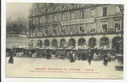 PARIS - CPA - GRANDS MAGASINS DE LOUVRE  - PREMIER DEPART DES VOITURES POUR LES LIVRAISONS DANS TOUTE LA BANLIEUE - Arrondissement: 01