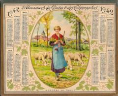 """Calendrier/Almanach P Et T/Chemins De Fer/""""Bergére Au Tricot"""" /Département De L´Eure/1942      CAL84 - Calendriers"""