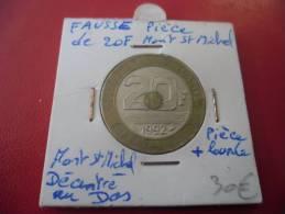 FRANCE @ Faux De 20 Francs De 1992 Mont Saint Michel - Frappe Molle Et Monnaie + Lourde Et Décallage Verso @ 2 Photos - France