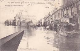 20818 NANTES Inondations 1904 - Quai Maison Rouge. Vasselier 134- Café Guillard -menuiserie Lerable -attelage Charette - Nantes