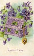Belle Illustrée Gaufrée : Violettes, Trèfles, Coffret, Pendentif à L'étoile - Botanik