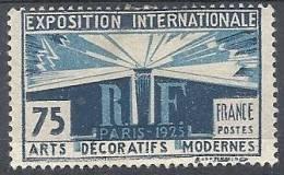 1924-25 FRANCIA ESPOSIZIONE ARTI DECORATIVE A PARIGI 75 CENT MH * - FR501 - France