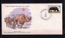 WORLD WILDLIFE FUND, W.W.F., FAUNA EN PELIGRO, RINOCERONTE, CONGO 1978, SOBRE PRIMER DIA - Rinocerontes