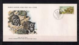 WORLD WILDLIFE FUND, W.W.F., FAUNA EN PELIGRO, MARMOTAS, AFRICA SUDOESTE 1976, SOBRE PRIMER DIA - Roedores