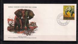WORLD WILDLIFE FUND,  W.W.F., FAUNA EN PELIGRO, ELEFANTES, GUINEA 1978, SOBRE PRIMER DIA - Elefanten