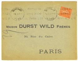 """VEND N° 199 SUR LETTRE """" MAISON DURST WILD FRERES """" + VARIETE : POINT BLANC SUR LE """" P """" DE """" REPUBLIQUE """" !!!! !!!! - Variétés: 1921-30 Lettres & Documents"""
