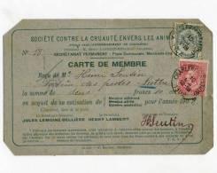 Carte De Membre 1902 - Société Contre La Cruaauté Envers Les Animaux - Timbres Fine Barbe 10c Et Armoiries 1c     (2596) - Organisaties