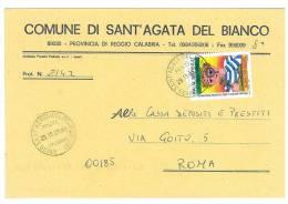 SANT ´AGATA DEL BIANCO  89030  PROV.  REGGIO CALABRIA - ANNO 2001  - LS   -TEMATICA COMUNI D´ITALIA - STORIA POSTALE - Affrancature Meccaniche Rosse (EMA)