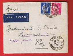 ENV + LETTRE //  DE BAYONNE //  POUR FEZ ( MAROC)  //   24/01/1938 - 1921-1960: Modern Period