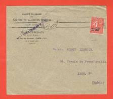 Flamme PARIS R.DU TEMPLE 1927 Nouvelles Galeries Réunies Timbre Semeuse Perforé N° 220 Y.T. - Marcofilia (sobres)