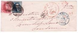 Lettre Affranchie N°5 + 7 (les 2 Margés) P24 Bruxelles/7/nov./1851 Pour Londres. Rare Avec Timbres Margés. - 1849-1850 Médaillons (3/5)