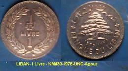LIBAN- 1 Livre - KM#30-1975-UNC-Agouz - Liban