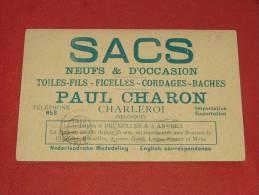 "CHARLEROI  -   "" Sacs Neufs Et D´occasion ""  Paul Charon  -  1920  -  (2 Scans) - Charleroi"