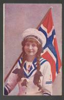 NORWAY  NORGE  PRETTY  WOMAN  AS  SAILOR  WITH  NORVEGIAN  FLAG , USED 1914 - Patriottisch