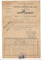 ###Facture Timbrée D'avertissement Du Service De Distribution De L'eau Ville De Loudun (Vienne) à Mr Amirault - 1800 – 1899