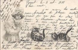 4855 - Enfant Et Deux Chatons + Cachet Linéaire Lutry - Autres
