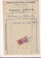 ###Facture Timbrée De L'entreprise De Vidanges Joseph Artus à Thouars (2 Sèvres) Pour La Laiterie De Riblaire - Verkehr & Transport