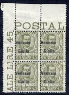 VENEZIA GIULIA 1918 Overprint On Italy 45c Block Of 4 **/*.  Sassone 26, Michel 26 - 8. WW I Occupation