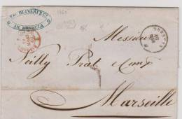 Cachet D´entrée Sardaigne Par Culoz A.C Du 19 Mars 1860 De Descia Pour Marseille - Marcofilie (Brieven)