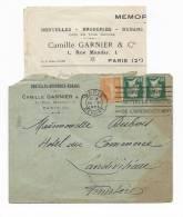11555 - Lettre à Entêtes - DENTELLES BRODERIES RUBANS -  C. GARNIER - PARIS  Avec Courrier (Voir Scan) 1924 - Textiel